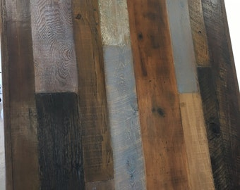 Square wood table top, mixed wood ,reclaimed wood variety