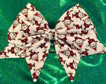 Hand Sewn Holiday Santa Claus Bow