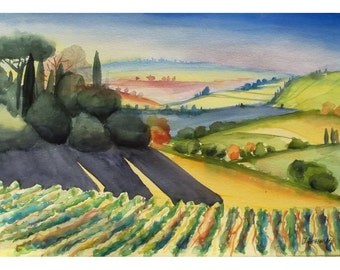 Italian Landscape, Tuscany Landscape, Large Painting, Original Watercolor, European Watercolor