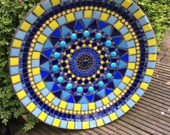 mozaieke wandschaal, blauwe fruitschaal, wanddecoratie kerstidee Mosaic platter