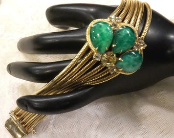 Beautiful Vintage Green Marbled Art Glass and Clearand Citirine Coloured Multi Snake Chain Bracelet