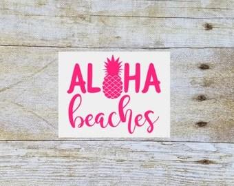 Aloha beaches, yeti tumbler pineapple decal, decal for yeti, vinyl decal, yeti decal, yeti tumbler decal, tumbler decal, pineapple decal