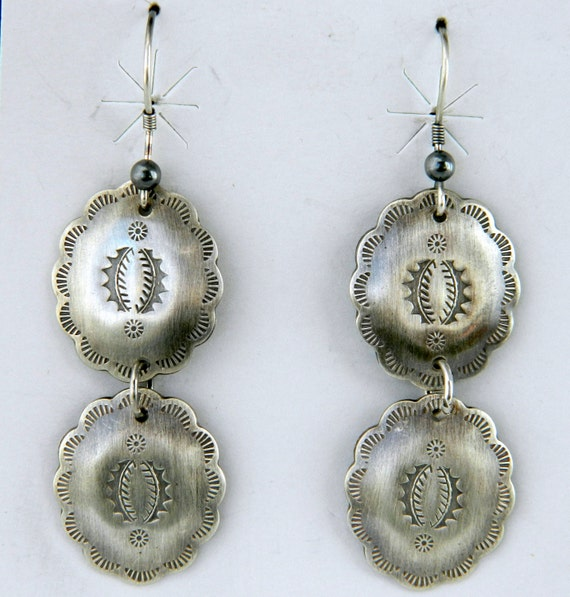Native American Navajo Indian Sterling Silver Double Concho Handmade Earrings