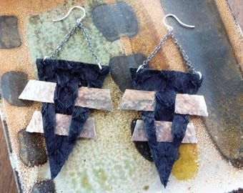 Pierced Triangle Earrings - black ruffled fish leather triangles with hammered bi-metal strips woven through; both medieval and futuristic!