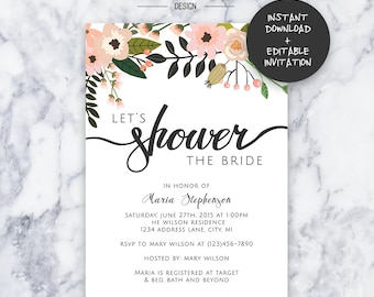 Let's Shower the Bride -- Bridal Shower Invitation | INSTANT DOWNLOAD | Editable PDF| Do It Yourself | Printable