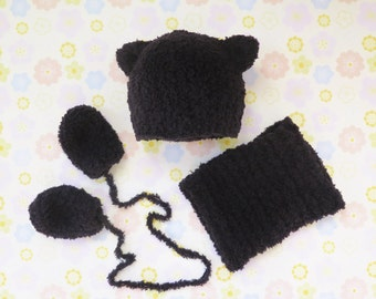 Baby Cat Hat, Mittens and Neck Warmer Set - Knitted cat hat with cowl and thumbless baby mittens