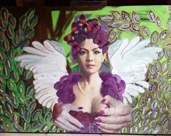 Angel - Artwork by Domino, mixed media and gold pigments on stretched canvas, 70x100, original with COA