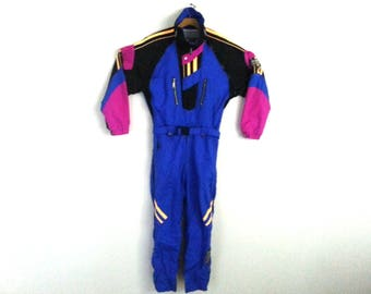 Rad Vintage 90s Ski Suit  Men's Neon Color Blocked Roffe Medium - Large