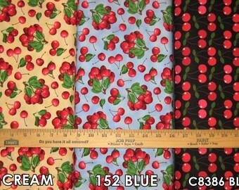 FOOD Fruits Cotton Fabric!! 7 Options! Strawberry, Cherry, Plum, Lemon  [Choose Your Cut Size]