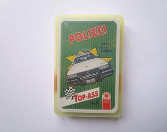 German vintage card game, quartets car card game, Polizei  Police, TOP-ASS, Altenburger Spielkarten 90s