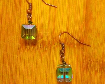 Aqua Glass Cube Earrings