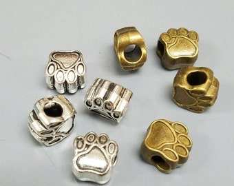 Silver or Gold Paw charms (set of 6) for DIY jobs like hair ties, headbands, bracelets and more.