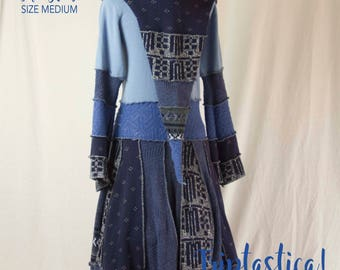 Upcycled Sweater Coat, Goddess Coat, Recycled Sweaters, Boho Hippie Festival Style, Triptastica Eco Couture