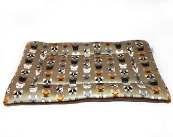 French bulldog dog bed, CUSTOM fleece, crate pad, crate bed