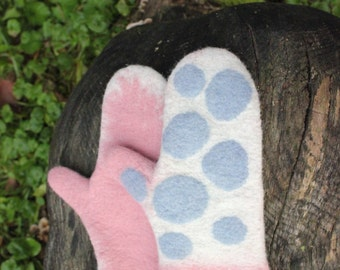 Hand Felted Mittens,Pink Gloves,Christms gift,Merino wool mittens