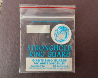 Stronghold Ring Guards - Giants White Gold Filled - Vintage 1970s 1980s - ORIGINAL STRONGHOLD JEWELRY Ring Guard