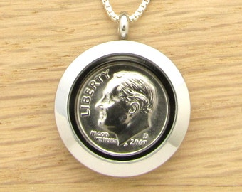 For 10th: 2007 US Dime Locket Necklace 10th Birthday or 10th Anniversary Gift Coin Jewelry