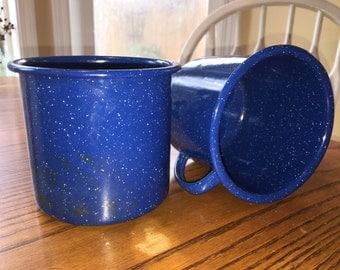 Vintage Blue Graniteware Coffee Cups