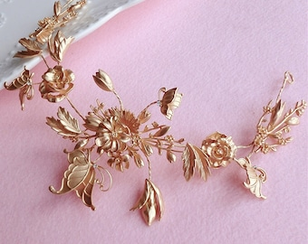 Rose Butterfly Wedding Tiara Insect High Fashion Bridal Hair Accessory Blossom Crown