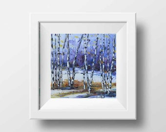 Birch Tree Art, Palette Knife Art, Tree Print, 12x12, Tree Art, Fall Print, Giclee Print, Lisa Elley, Landscape Painting, Birch Tree Artwork