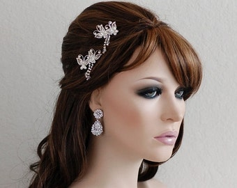 Set of 2 Bridal Hair Clips Headpiece Butterfly Wedding Hair Piece Accessories Hairpins Weddings Accessory Crystal Prom Clips Bride Jewelry