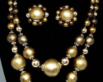 Double Strand Graduated Bead Necklace & Earrings, Metallic Bronze Gold Faux Pearls, Vintage Costume Jewelry, Demi Parure, Japan