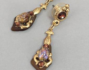 Opal Style Earrings Gold Tone Opal Earrings Victorian Drop Earrings  Amethyst Rhinestones
