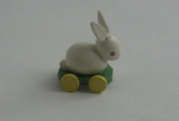 Wendt & Kuehn. Small wooden figure: White rabbit on trolley