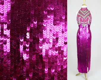 Vintage Sequin Dress Pink Evening Gown Split Plus Size XL 80s Prom Beaded