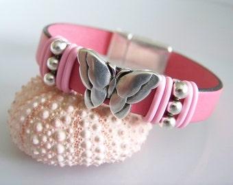 Pink Leather Butterfly Focal Bracelet - Item R5874