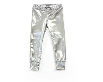 Metallic silver spandex leggings, baby and toddler