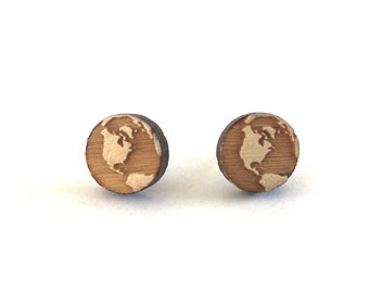 Earth Studs, World earrings, Earth Earrings, globe studs, planet earth, wooden earth earrings, enveronmental earrings, save the planet