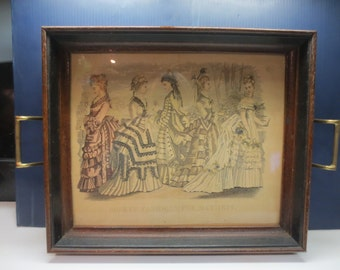 Godey's Fashions For May 1874 Under Glass Wooden Tray With Brass Handles