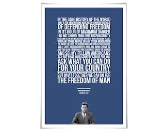 John Fitzgerald Kennedy Inauguration Speech - JFK Quote - Classroom Art - Presidential Speech - Motivational Print - History Teacher Gift