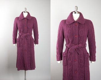 Vintage 1970s Sweater Coat | 70s Mohair Cable Knit Purple Belted Long Cardigan Jacket (small)