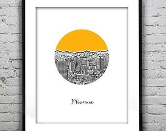 Phoenix Arizona Poster Print Art Skyline Round Version 4