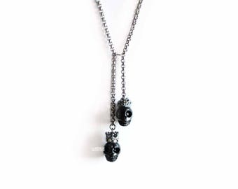 Skull Necklaces, Stainless Steel, Skull King Queen, Skeleton Necklace, Gothic Jewelry, Couple Jewelry, Grunge Necklace,Halloween Gift Idea