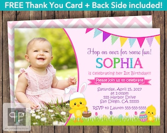 Easter Chick Birthday Invitation, Easter Photo Birthday Invitation, Easter Pink Invite, Easter Girl Birthday Invite, Free Thank You Card