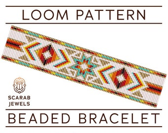 Native American Style Pattern   Loom Beading Bracelet   Cuff Bead Pattern   Miyuki Delica   PDF Instant Download