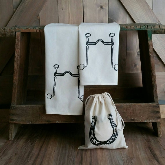 Tea Towels -Set of 2- Long Shank Curb Bit -with free gift bag- Cotton Equestrian Kitchen Towel