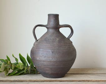 Vintage Handmade Charcoal Pottery Vase with Handles
