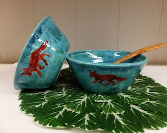 Red Fox Mixing Bowl Set, Handmade Pottery Nesting Bowls