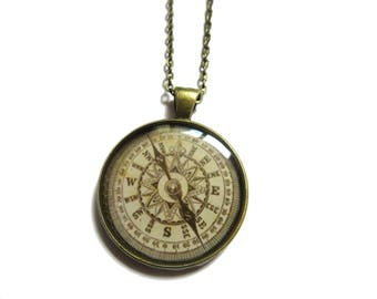 COMPASS NECKLACE, compass pendant, compassJewelry, NAUTICAL, Traveler Necklace, beige compass