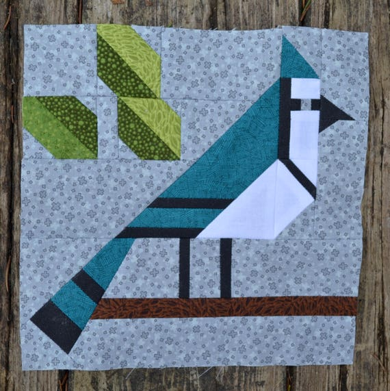 Blue Jay Quilt Block Pattern Pdf Instant Download Modern