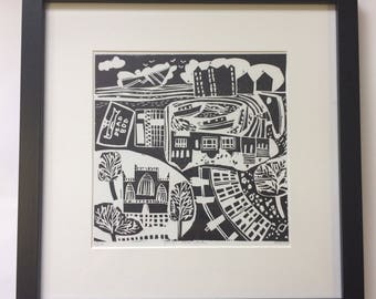 Hull Marina limited edition hand made lino print.
