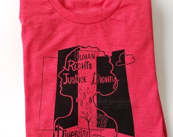 Women's March T-shirts // Human Rights, Justice, Dignity and Diversity Red Shirts