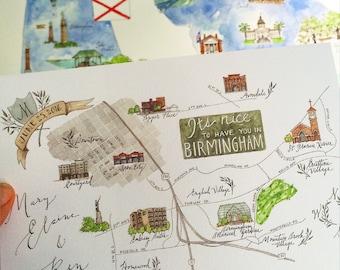 Made to Order - Custom Watercolor Wedding Map - Custom Calligraphy