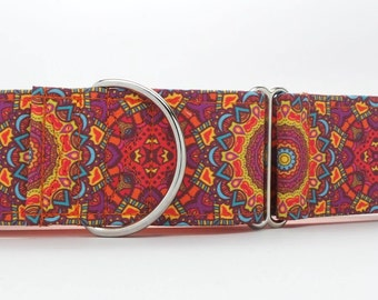 Fire Mandala Dog Collar (Martingale, Buckle, or Tag)