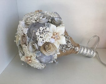 Cream, Ivory and Silver Brooch and Paper Bouquet