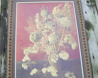 Large Mid Century Art by Artist Marjorie Drawbell, Carved Wood Frame,Rust Background,Rustic Flowers in a Vase,Crafted by Franklin